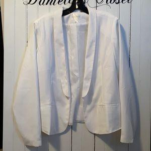 Decree Blazer White Drape Front Faux Pocket 1X